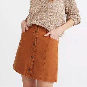 NWOT Madewell Button Front A-Line Skirt